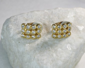 Swarovski Gold and Crystal Clip On Earrings