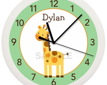 Green Giraffe Personalized Nursery Wall Clock