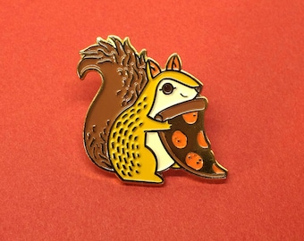 Trash Squirrel Pizza Enamel Lapel Pin Badge // Artist Series pin by Teagan White // Gold Cheese Pepperoni Squirrel Gift Forest Autumn Fall