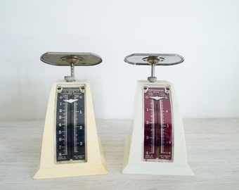 vintage persinware kitchen scale pair