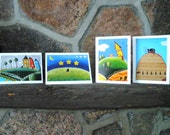 4 Whimsical Art Cards  4 X 5 Blank, OOAK, Printed from my Paintings ALL Occasion