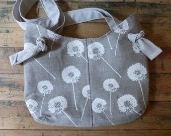 Raw Linen Dandelion Purse - Sling Bag Style - 3 Pockets - Key Fob