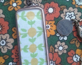 Recycled glass necklace, vintage fabric and leather cord