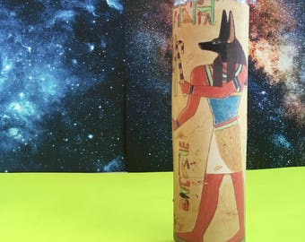 """Anubis ϟ 8"""" Altar Candle - Egyptian Mythology - meditation - channeling - worship - handmade"""