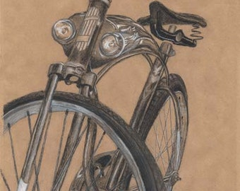 "Limited edition giclee print of original charcoal drawing,""My Ride"". Quality image and sophisticated, limited palette."