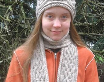 PDF Knitting Pattern, Saxon Braid Reversible Cabled Scarf