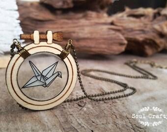 Cross Stitch Paper Crane Wooden Necklace Birthday Valentine Mother's day Wedding BFF Best friend gift
