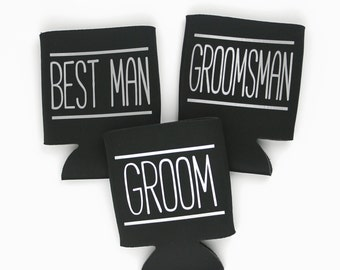 Bachelor Party Favors - Best Man Gift - Party Decor - Groomsmen Gift - Personalized Can Sleeve - Party Favor - Wedding Shower - Can Coolie