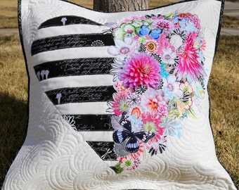 MarveLes PAPER PATTERN for a the City Chic PILLOW in a Collage Style  Black White Stripes Pillow Floral Home Decor