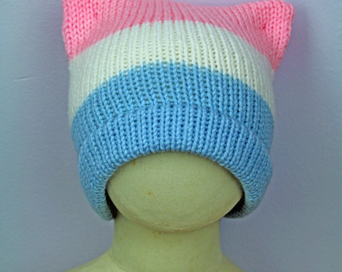 Trans Pride Beanie ! Pussy Cat Kitten Hat Pink Ear Hat Humans Rights Pride Protest Trump #Metoo