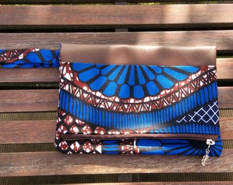 """Evening clutch colorful """"Granada"""". Faux leather and wax. Blue chocolate"""