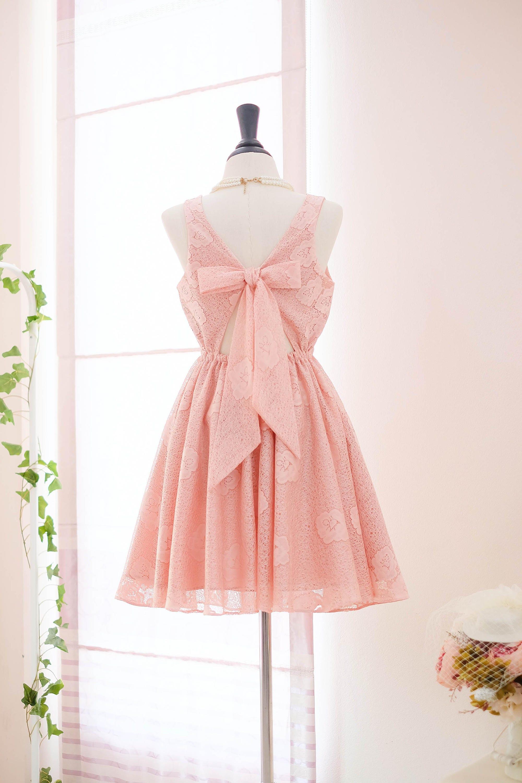 Rosa Spitze Brautjungfer Kleid nackt rosa Spitze Kleid