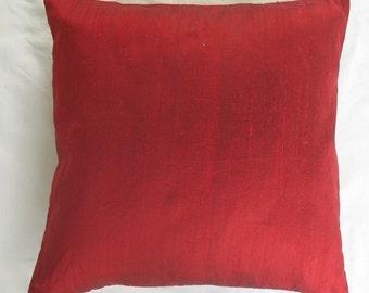 bright red dupioni silk  cushion cover.   decorative row silk  pillow cover. Red luxury pillow cover  20  inch  cushion  made.