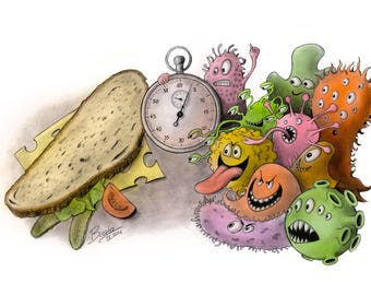 The Five-Second Rule - Science Art Print (Molecular Biology, Microbiology, Bacteria, Microbes, Gift, Giclee)