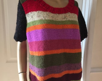 Fab Authentic Vintage Homemade (unique) Multi colour Jumper sz 10/12 Pristine