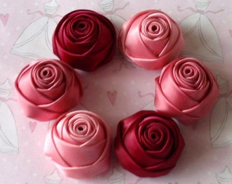 6 Handmade Rolled Roses (1-1/4 inches) in Wine, Fantasy Rose, Colonial Rose MY-106 -03 Ready To Ship