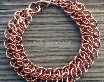 Copper chainmaille bracelet; chainmaille jewelry; copper GSG chain maille bracelet; copper bracelet