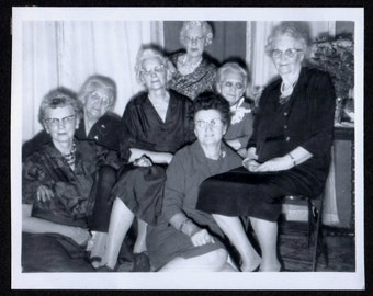 Vintage Photo Group of Little Old Ladies All Wearing Glasses 1960's, Original Found Photo, Vernacular Photography