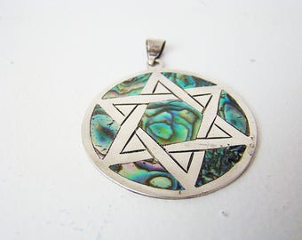 Vintage Sterling Mexico Abalone Sterling Silver Large Pendant Star of David