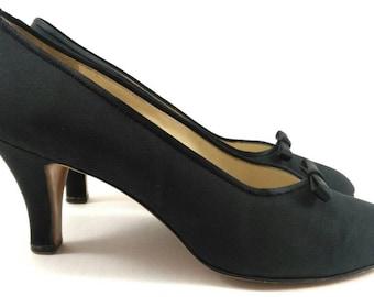 Ferragamo  pump heels shoes, black high heels, vintage heels shoes
