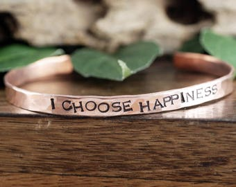 I Choose Happiness, Wire Bracelet, Inspirational Jewelry, Quote Jewelry, Motivational Gift, Wire Bangle, Engraved Jewelry, Gift for Her
