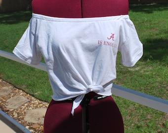 Alabama Crimson Tide Shirt  Upcycled Off Shoulder Cropped with tie Waist, One Shoulder Size M-L