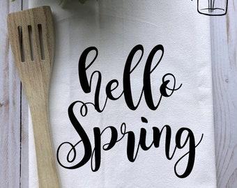 Tea Towel-Hello Spring Flour sack Tea Towel- Hand Towel-Kitchen Decor-Farmhouse Towel-Farmhouse Decor