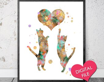 Watercolor Cat PRINTABLE Art, Love Cats Playing with Heart, Cat Art Print, Cat Painting, Cat Wall Art, Digital Download, Instant Printable
