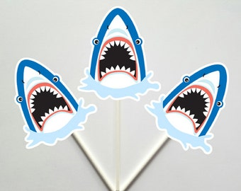 Shark Cupcake Toppers - Fish Cupcake Toppers - Under The Sea Cupcake Toppers, Item# 8116141A