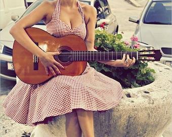 Red Gingham Dress Pin Up Dress Summer Dress Holiday Dress Party Dress Rockabilly Dress 50s Dress Retro Swing Dress Sun Dress Plus Size Dress
