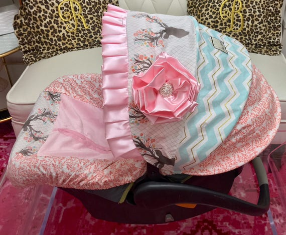 Fancy Infant Car Seat Covers Coral Floral Baby Car Seat
