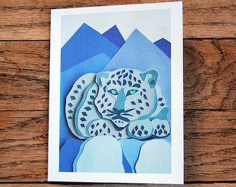 Snow Leopard Cards, a set of 8 handmade cards with envelopes