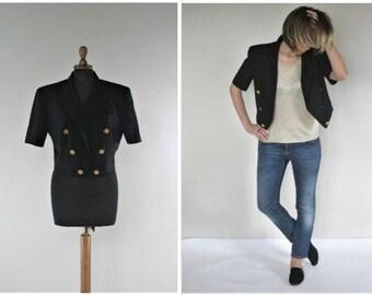 Vintage Moschino Jacket Steampunk Clothing Lane Tuxedo Short Sleeve Jacket Womens Tuxedo Jacket Womens Blazer 80s Blazer Cropped Jacket