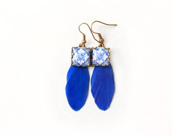 Botanic tile Earrings with vintage drawings and feathers. Blue & white  Herbal earrings. Arabesque.