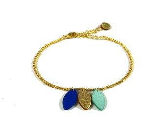 Leather tassels bracelet number 2 electric blue, mint and gold