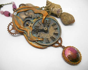 Time Heals All Wounds polymer clay and resin jewelry pendant necklace handmade One of a Kind