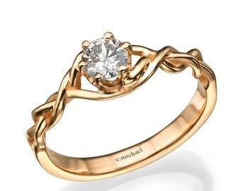 Rose Diamond Ring, Rose Engagement Ring, Engagement Ring, Diamond Ring, Rose Diamond Engagement, Engagement Band, 14k Ring, Rose Gold Ring