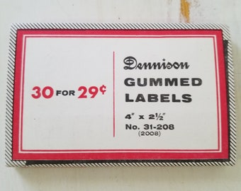 "Big Box Vintage Dennison Gummed Labels red and white 4"" by 2&1/2"" for altered art, collage, art journals"