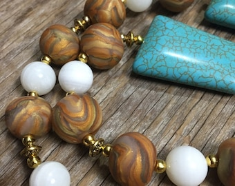 Roma - Bold Unique Gold Turquoise & White Handmade Statement Necklace