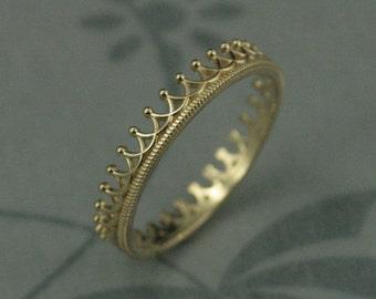 14K Yellow Gold Princess Crown Ring--Beautiful Yellow Gold Crown Wedding Band--Crown Stacking Ring--Handmade Crown Ring