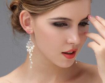 Bridal Chandelier Earrings, Pearl Wedding Earrings, Gold Bridal EArrings,  Ivory Sterling Silver Long Bridal Jewelry Jewellery