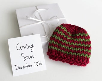 December Pregnancy Announcement, Christmas Baby Reveal, Red and Green Hat