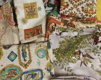 Lot of upholstery curtain pillow slip fabric birds floral colonial prints