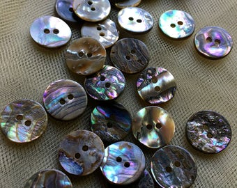 20 Abalone Buttons  24L 15mm for Knitting, Jewelry, Garments, Crafts  BU 74