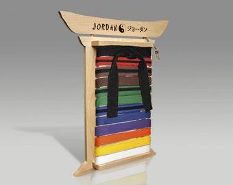 Maple Martial Arts Belt Rack - Personalized Karate Belt Display Taekwondo Brazilian Jujitsu belt holder BJJ Jiu Jitsu Tae kwon Do Kung fu