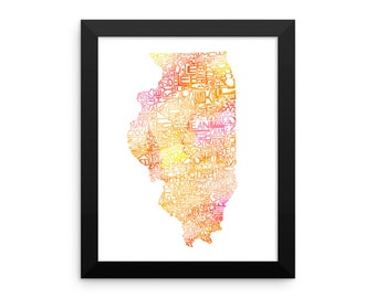Illinois watercolor typography map art FRAMED print state poster wedding engagement graduation gift anniversary wall art decor lake house