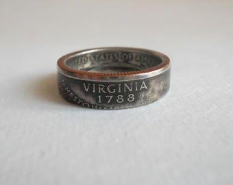 Virginia State Quarter coin Ring USA