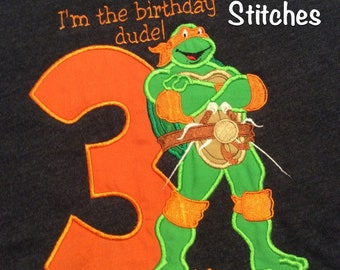 Full Body Teenage Mutant Ninja Turtle Birthday Shirt