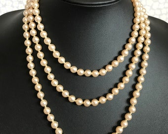 "Vintage 54"" Long Single Strand Hand Knotted Faux Pearl Flapper Necklace"
