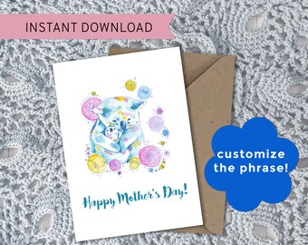 Printable Floral Koala Watercolor Art Customizable Greeting Card || For Mother's Day + Koala Lovers || Printable PNG + PDF